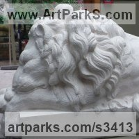 Cats Wild and Big Cats Sculpture by sculptor artist Thomas Brown titled: 'Baroque Lion after Canova (stone resin sculpture)' in Stone resin
