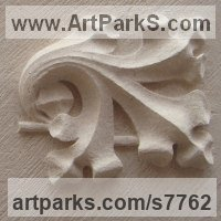 Foliage Leaves Carvings Sculpture Statues by sculptor artist Thomas J. Nicholls titled: 'Old English Carved Oak Leaves (Traditionally Relief Lime stone statue)' in Portland stone