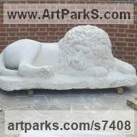 Public Park or Urban Landscape or Corporate sculpture / Fountain / Sratuary by sculptor artist Thomas Kenrick titled: 'Sleeping Lion (White Carved stone Recumbent garden Yard statue statuary)' in Bath stone
