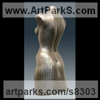 Drapery Sculpture Statue Statuettes Carvings by sculptor artist Ton Voortman titled: 'Premi�re (nude Naked Lifesize Woman`s Torso statue)' in Bronze