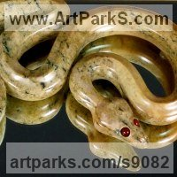 Precious Metals Animal Sculpture Statues statuettes ornaments by sculptor artist Tony Mayo titled: 'Ball Python Twins (Small Constrictor Snake carved statue)' in Brazilian soapstone, carnelian, sahara bamboo