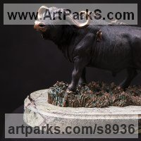 Small Animal Sculpture by sculptor artist Валерий Безпалый VALERON titled: 'African Black Buffalo (Bull and Birds sculpture)' in Bronze