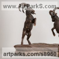 Small Animal Sculpture by sculptor artist Валерий Безпалый VALERON titled: 'Mountain Goats (Butting Fighting Rams Billys statue)' in Bronze