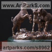 Animals and Birds at Play Sculpture Statues by sculptor artist Валерий Безпалый VALERON titled: 'Playing kids (Young Goats Playing statue)' in Bronze