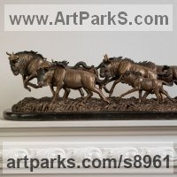 Small Animal Sculpture by sculptor artist Валерий Безпалый VALERON titled: 'The Wildebeest Migration (Herd Move statue)' in Bronze