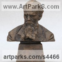 Commemoratives and Memorials Sculpture by sculptor artist Valery Yevdokimov titled: 'Bust of F.M. Dostoevsky (bronze Portrait statues)' in Bronze