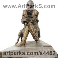 Commemoratives and Memorials Sculpture by sculptor artist Valery Yevdokimov titled: 'Sitting Figure of F Dostoevsky (Small/Little bronze statue/statuetttes)' in Bronze and granite