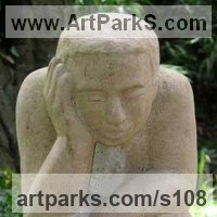 Emotion Sculpture by sculptor artist Vega Bermejo Castelnau titled: 'Sacrifice (Seated stone Sad Figure sculpture Carving statue)' in Portland limestone