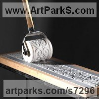 Carved and Engraved Lettering Writing Inscriptions Poems Quotations Carving Panels Sculpture by sculptor artist Verena Mayer-Tasch titled: 'Roller (Carved White marble Printing roler sculpture statue carving)' in White , grey carrara marble, wood