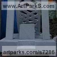 Public Park or Urban Landscape or Corporate sculpture / Fountain / Sratuary by sculptor artist Verena Mayer-Tasch titled: 'Throne (Carved marble Woven Strap Hammok statue carving sculpture)' in White carrara marble