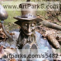 Hyperrealistic Sculpture by sculptor artist Victoria Chichinadze titled: 'Money -Lender (Metal Gnome Imp Elf Fairy Yard garden statues sculpture)' in Bronze