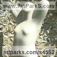 Earth Mother Gaia sculpture statue statuettes figurines by sculptor artist Virginia Day titled: 'Arora (Cast stone Semi abstract nude Woman sculptures)' in Cast stone