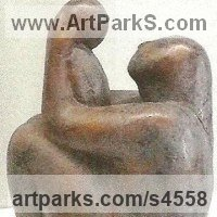 Small / Little Abstract Contemporary Sculpture / Statues by sculptor artist Virginia Day titled: 'Mother and Child (Bronze Minimalist Modern abstract statue/sculpture)' in Bronze