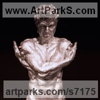 Emotion Sculpture by sculptor artist Wesley Wofford titled: 'American Love (nude Muscular Torso Young Man Portrait sculpture statue)' in Bonded stainless steel