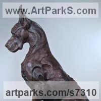 Pet and Animal Portrait Custom or Bespoke or Commission Commemorative or Memoriaql sculpture statue by sculptor artist Wesley Wofford titled: 'Great Dane- Sentinel (Big bronze Stylised Seated Guard Dog statue)' in Bronze