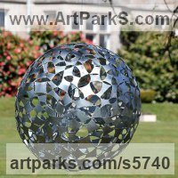 Modern Abstract Contemporary Avant Garde Sculpture or Statues or statuettes or statuary by sculptor artist Will Carr titled: 'Dark Matter (Round Shiny Steel Ball Spherical garden/Yard Ornament)' in Galvanised steel