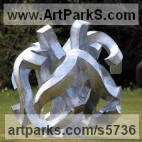 Modern Abstract Contemporary Avant Garde Sculpture or Statues or statuettes or statuary by sculptor artist Will Carr titled: 'Encompassed (Conceptual Steel Lacoan abstract Round garden/Yard)' in Galvanised steel