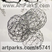 Suspended Sculpture or Statues or Statuettes by sculptor artist Will Carr titled: 'Interactions (4 Round garden/Yard Spheres Ball Wire suspended statue)' in Galvanised steel
