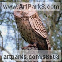 Animals and Birds at Play Sculpture Statues by sculptor artist Will Carr titled: 'Tawny Owl' in Steel