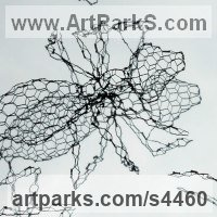 Animal Form: Abstract Sculpture by sculptor artist William Ashley-Norman titled: 'Ants (Big Wire Insect garden sculpture)' in Chickenwire