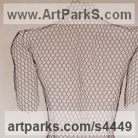 Stylized People Sculpture by sculptor artist William Ashley-Norman titled: 'female nude - Back (Wire Netting Torso Wall Hung high relief statue)' in Chickenwire steel mesh