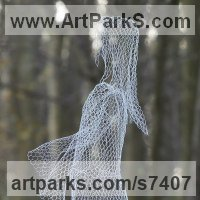 Commission and Custom and Bespoke sculpture Statues by sculptor artist William Ashley-Norman titled: 'Ghost (Ethereal See Through Transparent Outdoor Indoor statue sculpture)' in Chickenwire