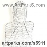 Stylized People Sculpture by sculptor artist William Ashley-Norman titled: 'Jennifer (Wire Mesh High Relief Sitting nude Girl Wall Hanging statue)' in Chickenwire