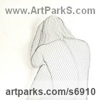 Wall Mounted or Wall Hanging sculpture by sculptor artist William Ashley-Norman titled: 'Misery (Sitting nude Girl Sexy Chicken Wire Mesh Wall statue sculpture)' in Chickenwire