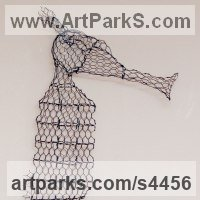 Stylized Animals Sculpture by sculptor artist William Ashley-Norman titled: 'Seahorse (Chicken Wire Wall Hung sculptures)' in Chickenwire steel mesh