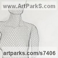 Stylized People Sculpture by sculptor artist William Ashley-Norman titled: 'Stripped Down (life size Wire Netting Wall nude Girl Woman statue)' in Chickenwire