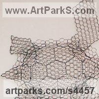 Aquatic Sculpture Fish / Shells / Sharks / Seals / Corals / Seaweed by sculptor artist William Ashley-Norman titled: 'Turtle (life size Wire Mesh Wall Hanging Indoor Outside sculpture)' in Chickenwire