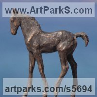 Young Animal Bird, Reptile or Amphibian and possibly Insects Statues by sculptor artist Yanina Antsulevich titled: 'Boghemia (Bronze Frisian Foal Horse sculptures/statuette/ornament)' in Bronze