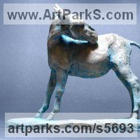 Small Animal Sculpture by sculptor artist Yanina Antsulevich titled: 'Donkey (Small bronze Standing Equine sculptures/statuette/statue/fi)' in Bronze