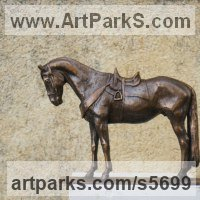 Horse and Rider / Jockey Sculpture / Equestrian Sculpture by sculptor artist Yanina Antsulevich titled: 'Sardinian Horse (bronze Small/Little Equine statuettes/figurine/statue)' in Bronze