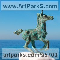 Commission and Custom and Bespoke sculpture Statues by sculptor artist Yanina Antsulevich titled: 'Serenita (Small/Little bronze Frisking Donkey troting statues/statuette)' in Bronze and stone