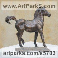 Commission and Custom and Bespoke sculpture Statues by sculptor artist Yanina Antsulevich titled: 'The Foal (bronze Frisky Young Horse sculptures/statues/statuettes)' in Bronze