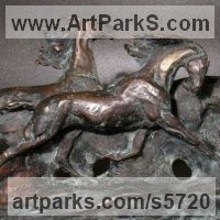 Wall Mounted or Wall Hanging sculpture by sculptor artist Yanina Antsulevich titled: 'Trotters (little/Small Bronze Horse Plaque Bas/Low Relief panelds/statue)'