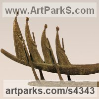 Transport including Road / Rail / Air / Aircraft / Sea / Maritime by sculptor artist Yladimir Slobodchikov titled: 'In a Boat (abstract Rowers in Contemporary Boat statue sculpture)' in Bronze