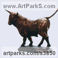 Small Animal Sculpture by sculptor artist Zakir Ahmedov titled: 'Bull (Little ronze Bull Strutting and Pacing Proudly sculptures)' in Bronze