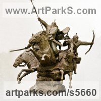 Horse and Rider / Jockey Sculpture / Equestrian Sculpture by sculptor artist Zakir Ahmedov titled: 'Charge (Cavalry Charge of Tartars, Mongols sculptures/statuette)'