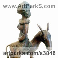 Horse and Rider / Jockey Sculpture / Equestrian Sculpture by sculptor artist Zakir Ahmedov titled: 'Dluck (Fun Donkey and Topless female Rider statues/statuettes/figurine)' in Bronze