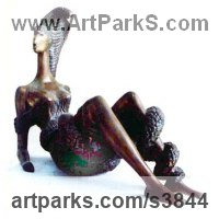 Sensual Sculpture or Statues by sculptor artist Zakir Ahmedov titled: 'Girl with Snake (bronze Reclining Entwined statuettes statue sculpture)' in Bronze