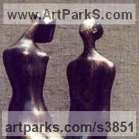 Wedding Anniversary Gift or Present Sculpture Statues statuettes by sculptor artist Zakir Ahmedov titled: 'I am and She (Bronze Small Young nude Lovers statues)' in Bronze