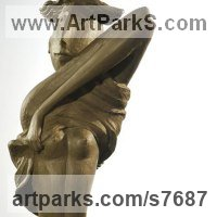 Abstract Modern Contemporary Sculpture Statues statuettes figurines statuary by sculptor artist Zakir Ahmedov titled: 'Love Me' in Bronze