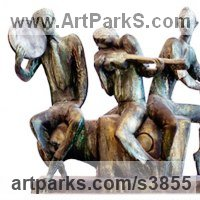 Musician and Musical Sculpture by sculptor artist Zakir Ahmedov titled: 'Mugam (Little Bronze Musican Trio Group sculptures)' in Bronze