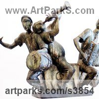 Humorous Sculpture by sculptor artist Zakir Ahmedov titled: 'Musicians (Small bronze Trio Drummer Accordion Trumpet Players statue)' in Bronze
