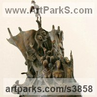 Religious Sculpture by sculptor artist Zakir Ahmedov titled: 'Nuhs Ship (Bronze Noah`s Ark Religeous sculpture)' in Bronze