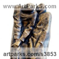 Couples or Group Sculpture by sculptor artist Zakir Ahmedov titled: 'Oldes (Small Stylised Old Couple abstract statuette)' in Bronze