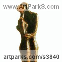 Figurative Abstract Modern or Contemporary Sculpture Statues statuary statuettes figurines by sculptor artist Zakir Ahmedov titled: 'Rain (Contemporary Hugging Clasping Embracing nude Couples statues)' in Bronze