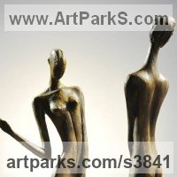 Nude Garden Yard Outdoor Outside Sculpture Statues by sculptor artist Zakir Ahmedov titled: 'Rain 1985year bronza 52X12X10 cm' in Bronze